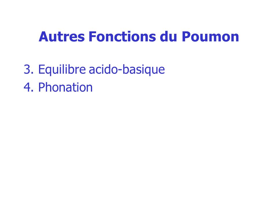 Autres Fonctions du Poumon 3. Equilibre acido-basique 4. Phonation