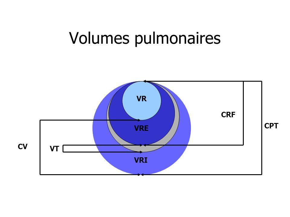 Volumes pulmonaires VR VRE VRI CRF CV CPT VT