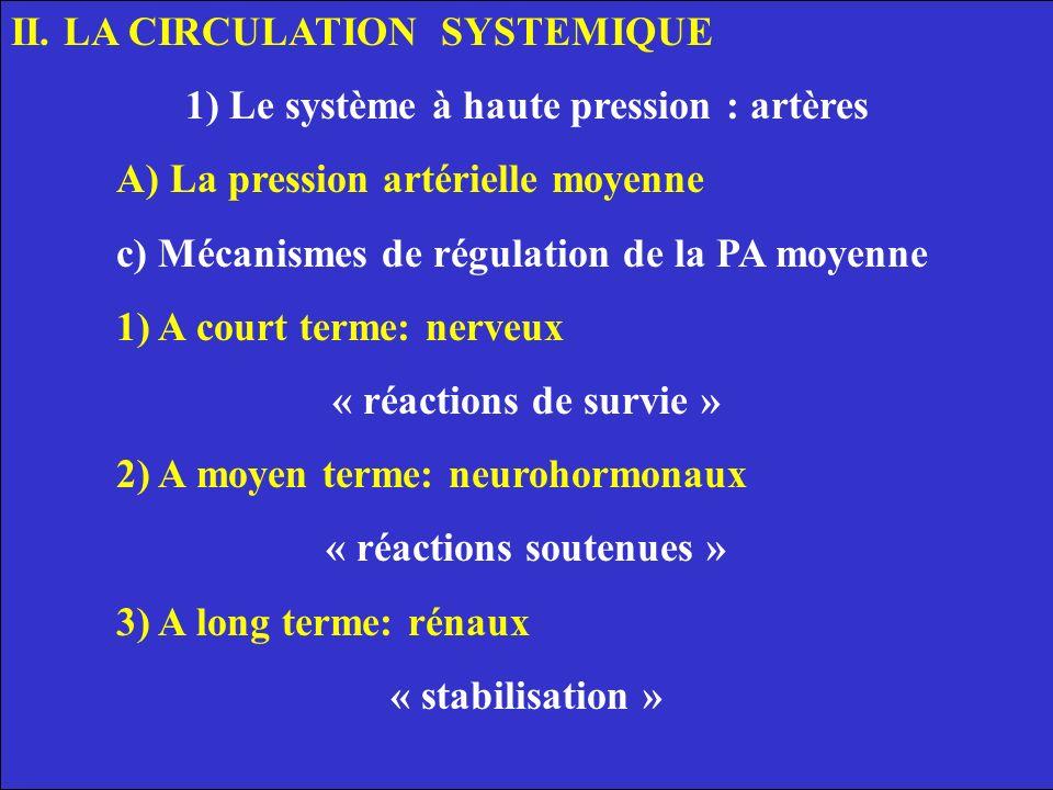 II. LA CIRCULATION SYSTEMIQUE 1) Le système à haute pression : artères A) La pression artérielle moyenne c) Mécanismes de régulation de la PA moyenne