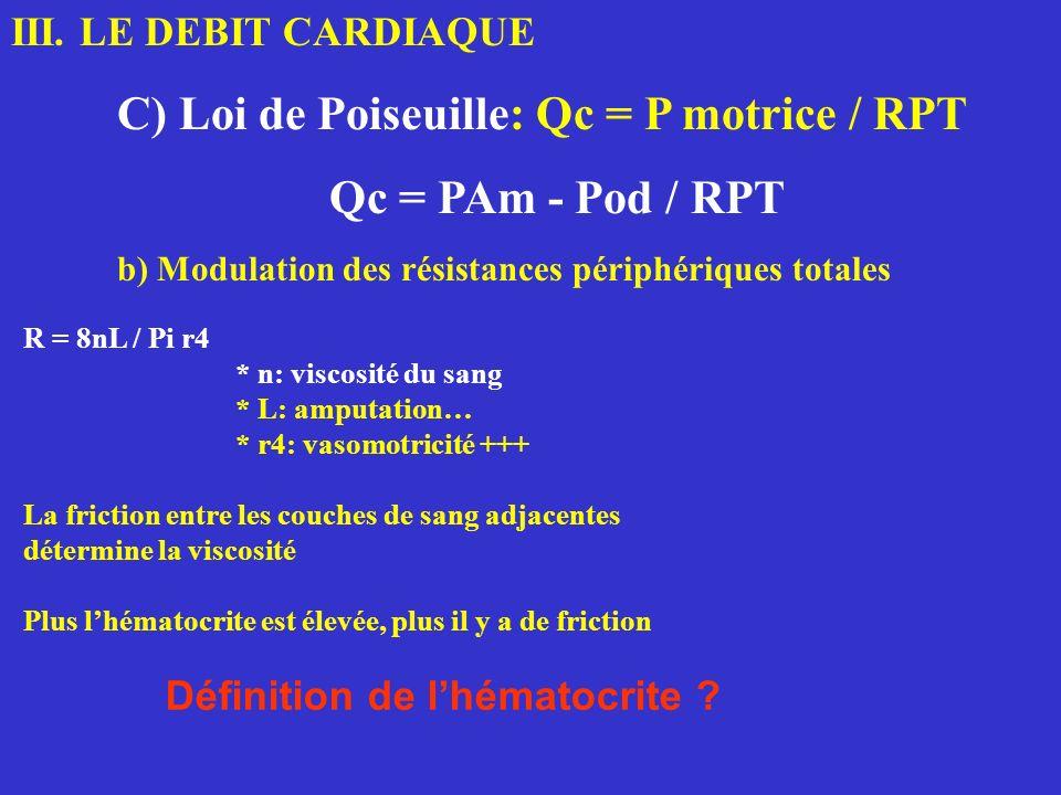 III. LE DEBIT CARDIAQUE C) Loi de Poiseuille: Qc = P motrice / RPT Qc = PAm - Pod / RPT b) Modulation des résistances périphériques totales R = 8nL /
