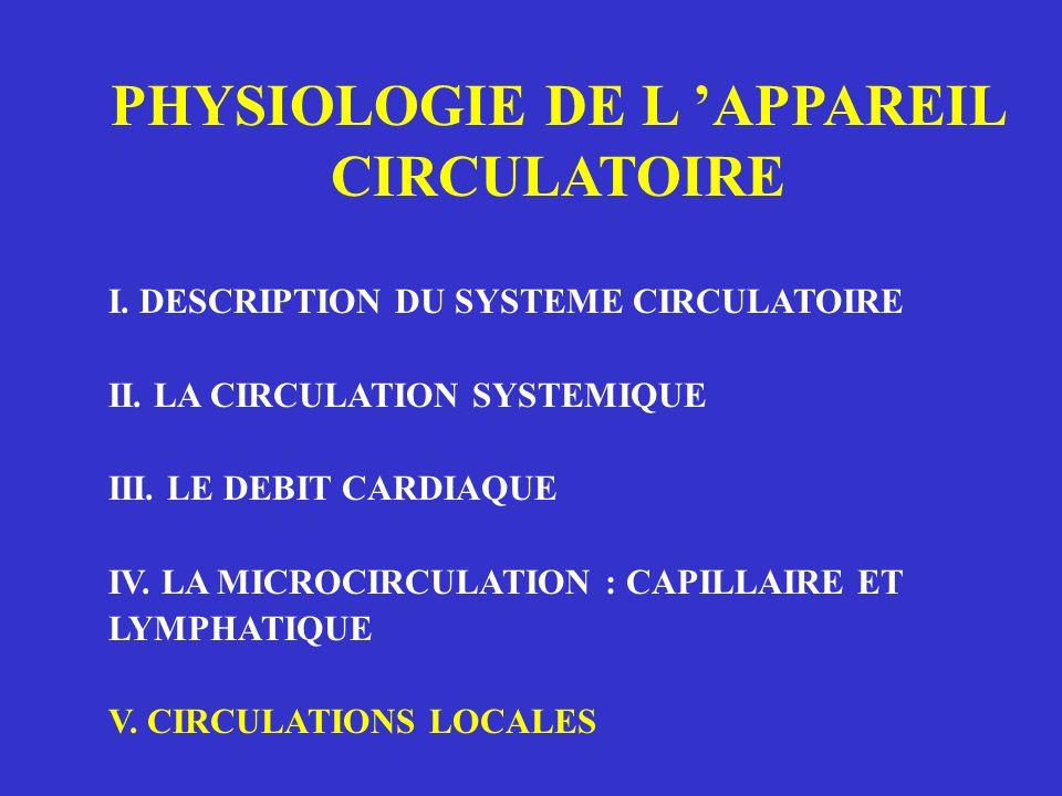 PHYSIOLOGIE DE L APPAREIL CIRCULATOIRE I. DESCRIPTION DU SYSTEME CIRCULATOIRE II. LA CIRCULATION SYSTEMIQUE III. LE DEBIT CARDIAQUE IV. LA MICROCIRCUL