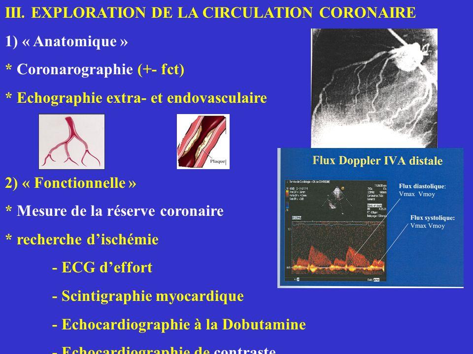III. EXPLORATION DE LA CIRCULATION CORONAIRE 1) « Anatomique » * Coronarographie (+- fct) * Echographie extra- et endovasculaire 2) « Fonctionnelle »