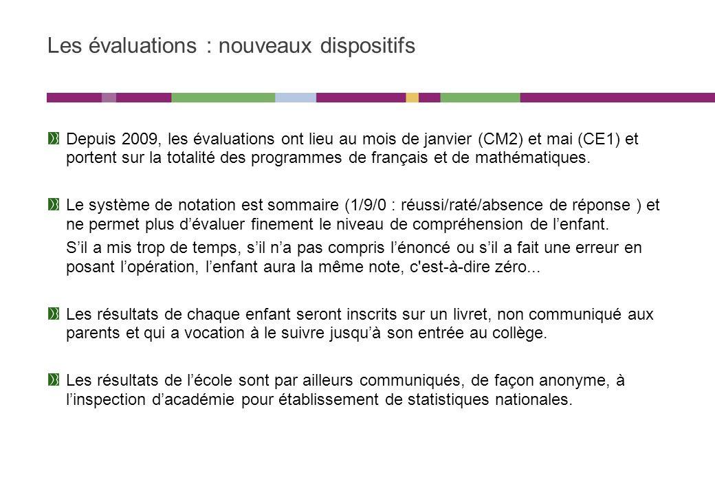 Les évaluations : nouveaux dispositifs Depuis 2009, les évaluations ont lieu au mois de janvier (CM2) et mai (CE1) et portent sur la totalité des programmes de français et de mathématiques.