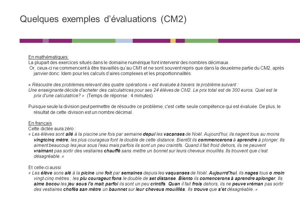 Nos interrogations Pourquoi limiter ces évaluations aux seuls programmes de français et de mathématiques .
