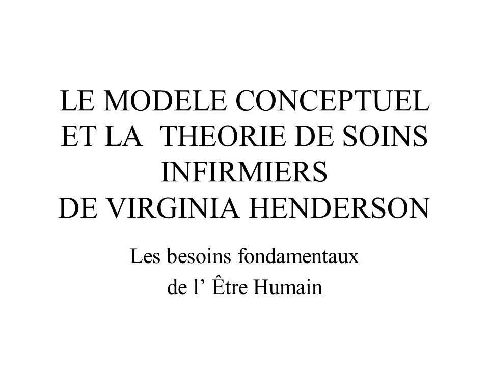 LE MODELE CONCEPTUEL ET LA THEORIE DE SOINS INFIRMIERS DE VIRGINIA HENDERSON Les besoins fondamentaux de l Être Humain