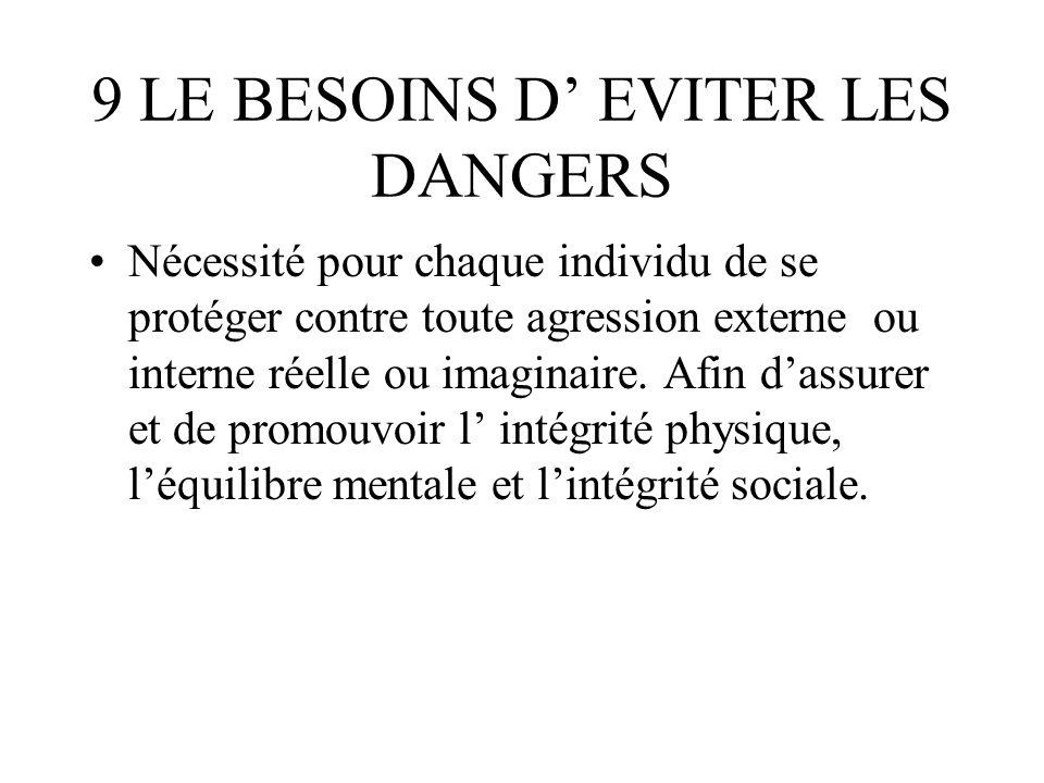 9 LE BESOINS D EVITER LES DANGERS Nécessité pour chaque individu de se protéger contre toute agression externe ou interne réelle ou imaginaire. Afin d