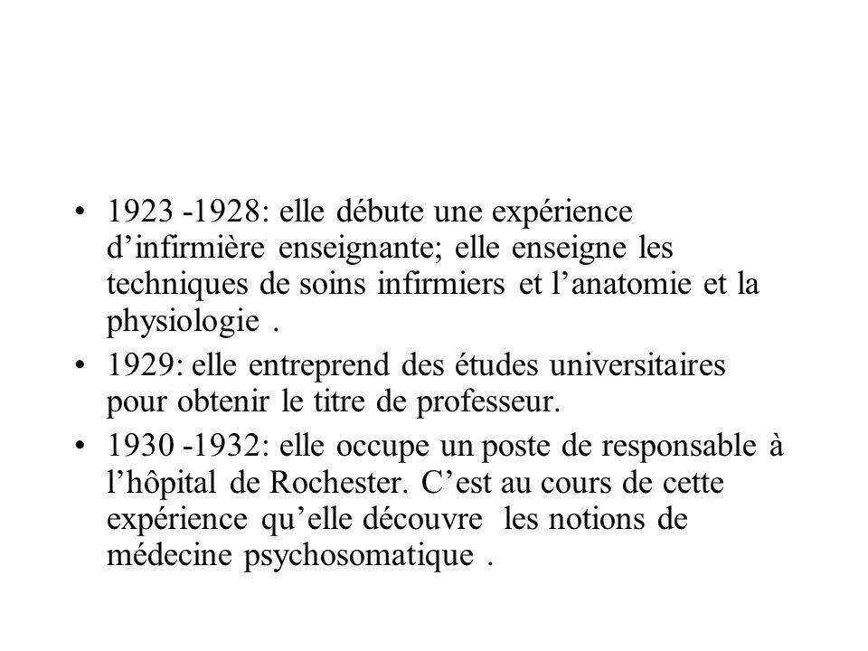 1923 -1928: elle débute une expérience dinfirmière enseignante; elle enseigne les techniques de soins infirmiers et lanatomie et la physiologie. 1929:
