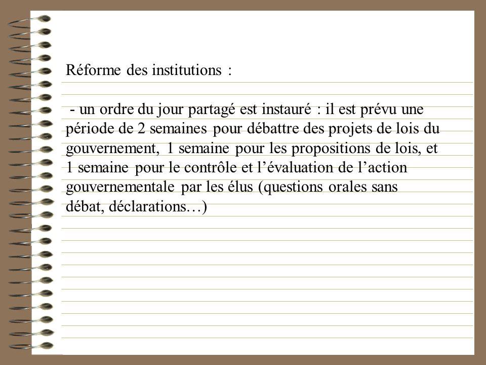 Réforme des institutions : - un ordre du jour partagé est instauré : il est prévu une période de 2 semaines pour débattre des projets de lois du gouve