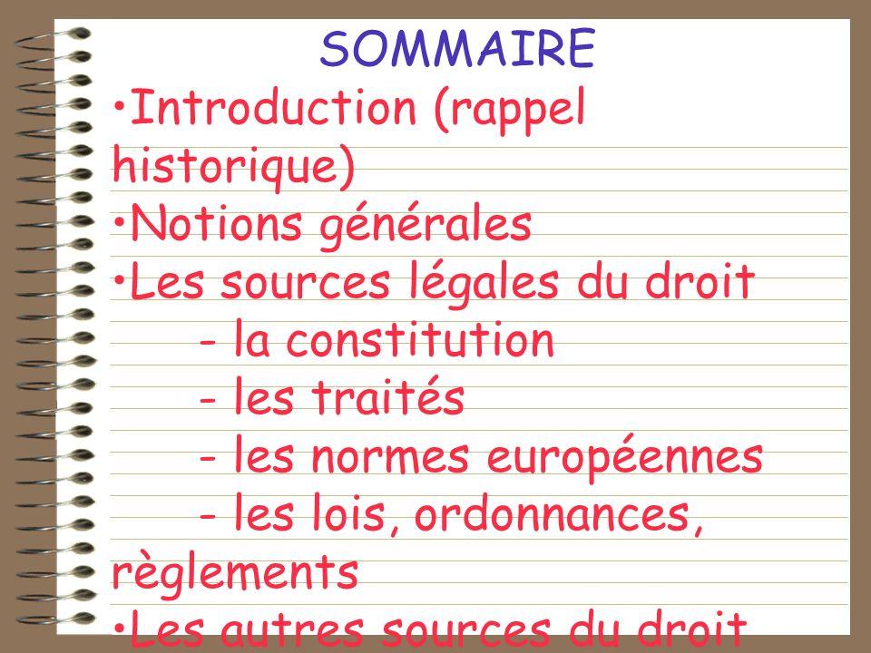 SOMMAIRE Introduction (rappel historique) Notions générales Les sources légales du droit - la constitution - les traités - les normes européennes - le