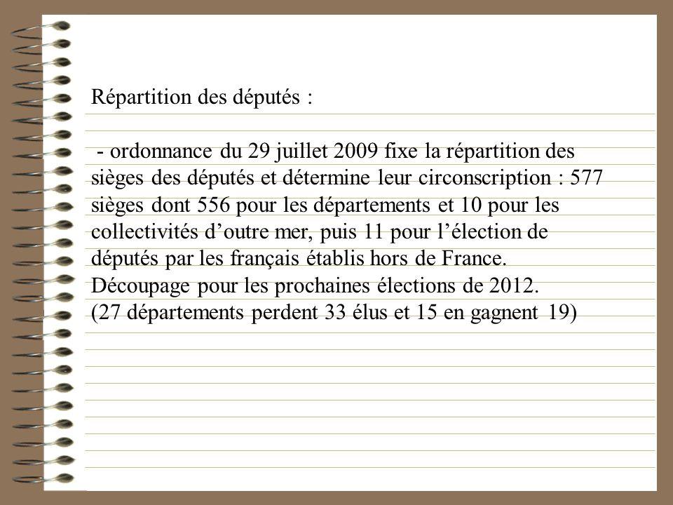 Répartition des députés : - ordonnance du 29 juillet 2009 fixe la répartition des sièges des députés et détermine leur circonscription : 577 sièges do