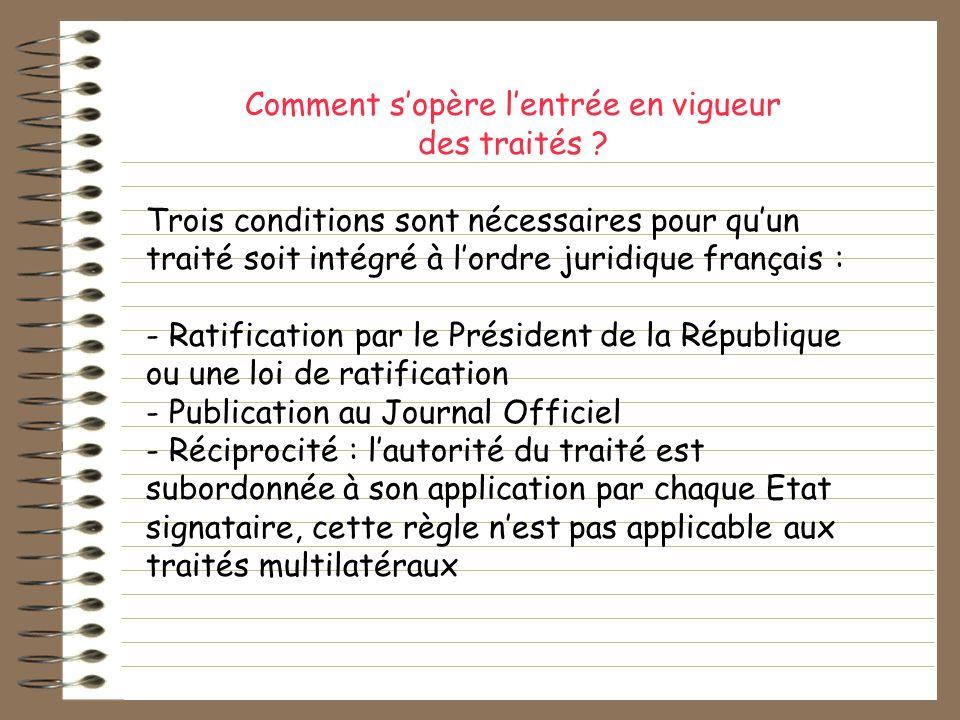 Comment sopère lentrée en vigueur des traités ? Trois conditions sont nécessaires pour quun traité soit intégré à lordre juridique français : - Ratifi