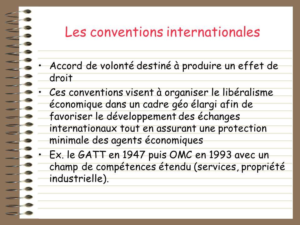 Les conventions internationales Accord de volonté destiné à produire un effet de droit Ces conventions visent à organiser le libéralisme économique da