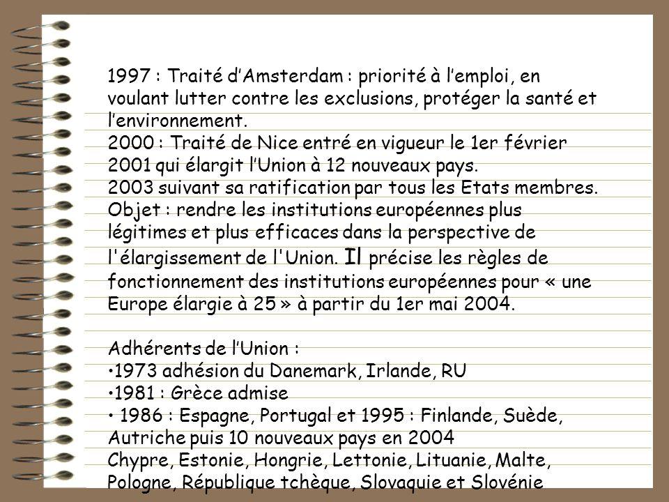 1997 : Traité dAmsterdam : priorité à lemploi, en voulant lutter contre les exclusions, protéger la santé et lenvironnement. 2000 : Traité de Nice ent