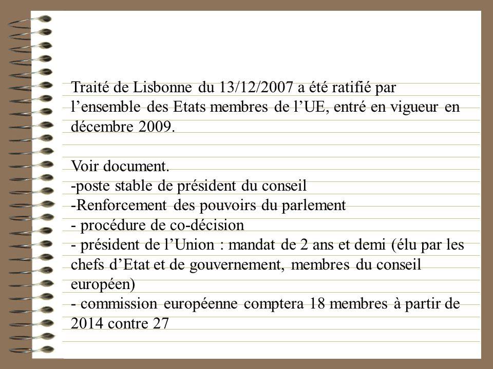 Traité de Lisbonne du 13/12/2007 a été ratifié par lensemble des Etats membres de lUE, entré en vigueur en décembre 2009. Voir document. -poste stable