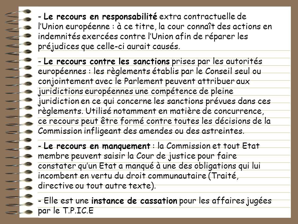 - Le recours en responsabilité extra contractuelle de lUnion européenne : à ce titre, la cour connaît des actions en indemnités exercées contre lUnion