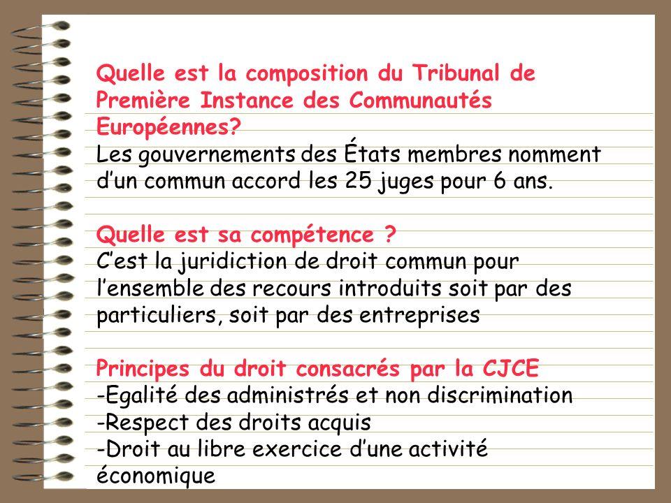 Quelle est la composition du Tribunal de Première Instance des Communautés Européennes? Les gouvernements des États membres nomment dun commun accord