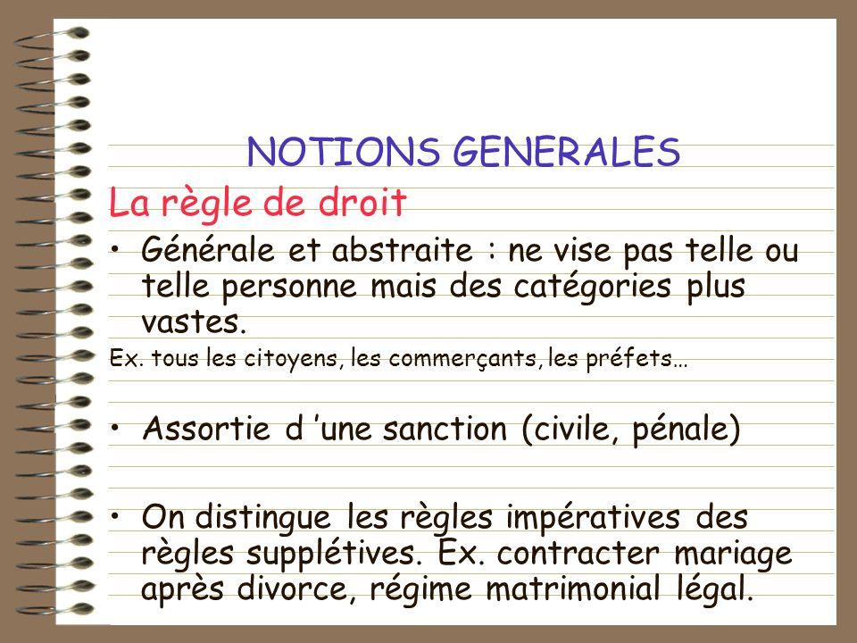 NOTIONS GENERALES La règle de droit Générale et abstraite : ne vise pas telle ou telle personne mais des catégories plus vastes. Ex. tous les citoyens
