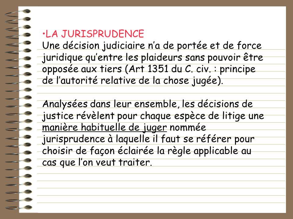 LA JURISPRUDENCE Une décision judiciaire na de portée et de force juridique quentre les plaideurs sans pouvoir être opposée aux tiers (Art 1351 du C.