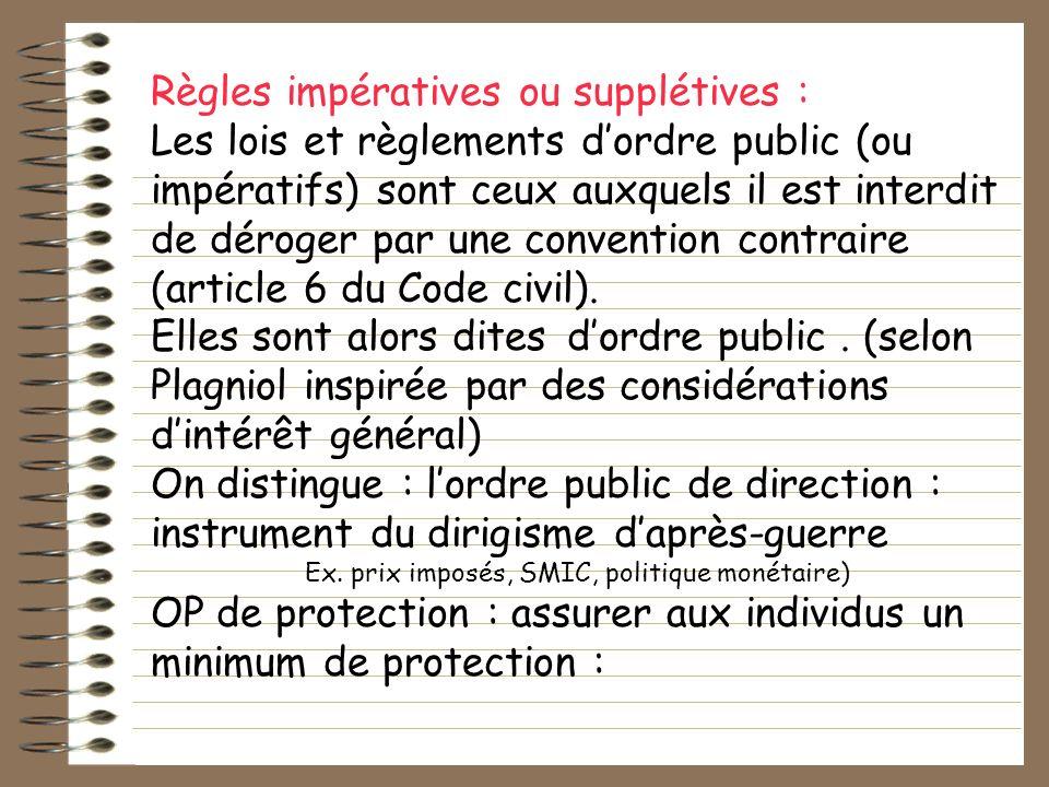 Règles impératives ou supplétives : Les lois et règlements dordre public (ou impératifs) sont ceux auxquels il est interdit de déroger par une convent