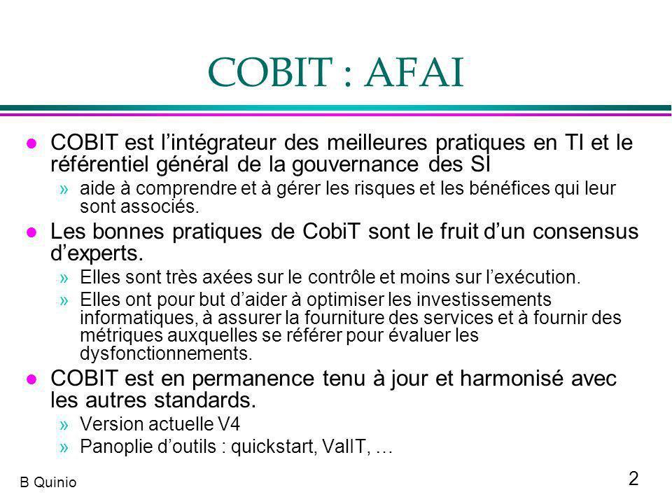 2 B Quinio COBIT : AFAI l COBIT est lintégrateur des meilleures pratiques en TI et le référentiel général de la gouvernance des SI »aide à comprendre