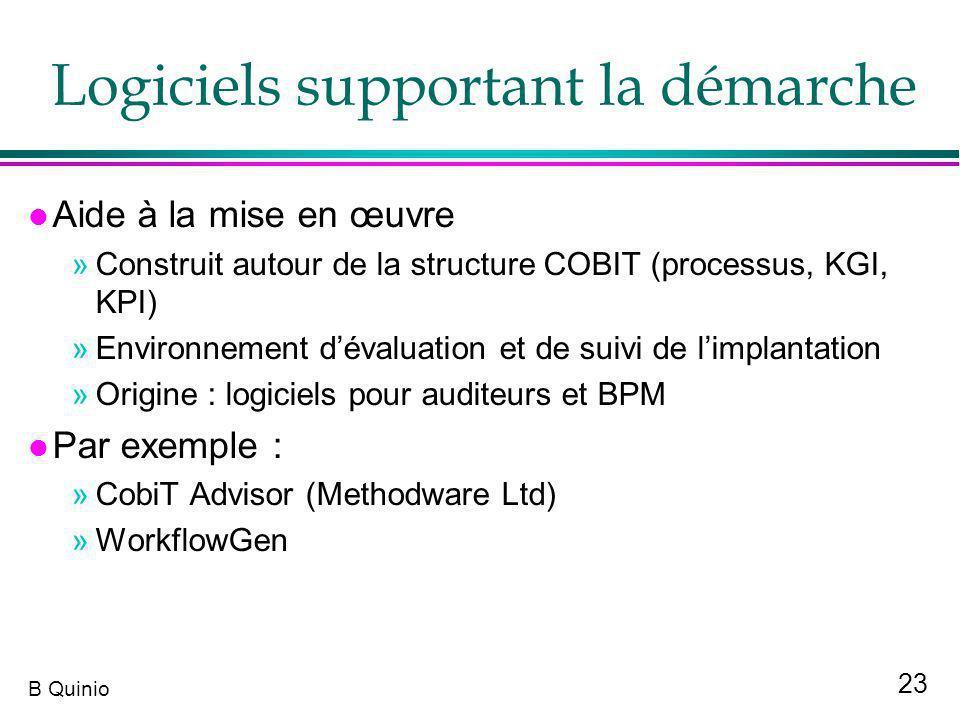 23 B Quinio Logiciels supportant la démarche l Aide à la mise en œuvre »Construit autour de la structure COBIT (processus, KGI, KPI) »Environnement dé