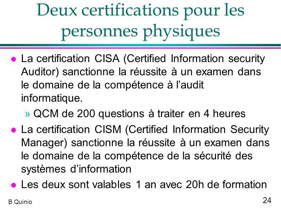 24 B Quinio Deux certifications pour les personnes physiques l La certification CISA (Certified Information security Auditor) sanctionne la réussite à