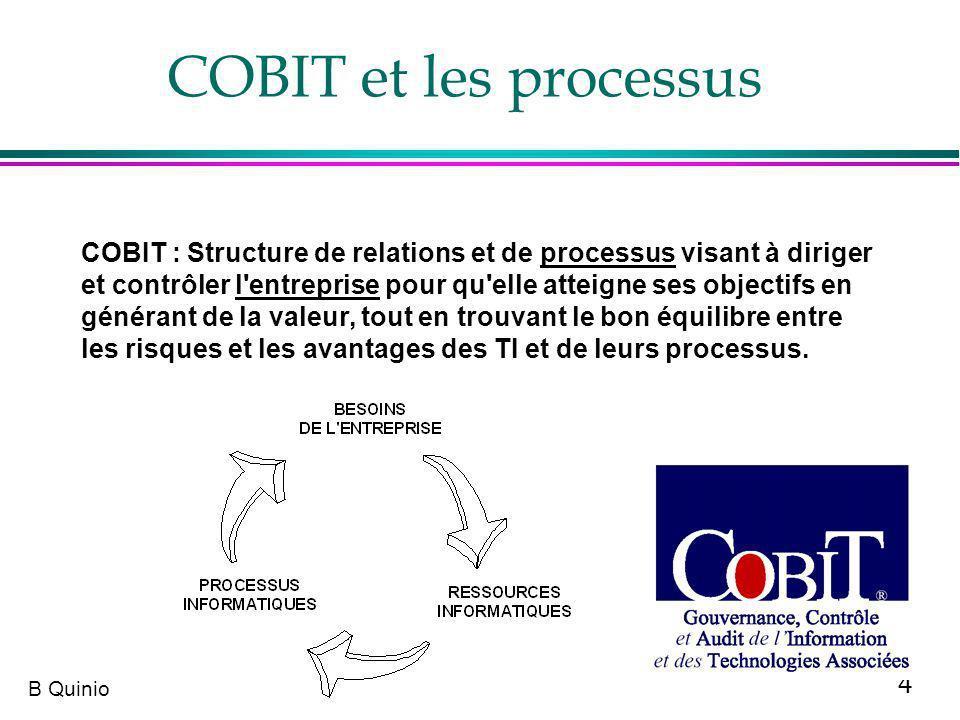 15 B Quinio COBIT :4 types de rôles pour les acteurs concernés par une activité (1) l Responsable »Celui qui fait le travail ou qui fait en sorte que le travail soit fait, cest-à- dire que le processus soit mis en oeuvre l Accontable : »Celui qui donne les directives et les priorités »GARANT en Français dans la traduction AFAI l Consulté : »Personne a qui on demande son avis pour la réalisation du processus l Informé : »Personne que lon tient au courant l RACI (en version originale) RGCI (en version française)