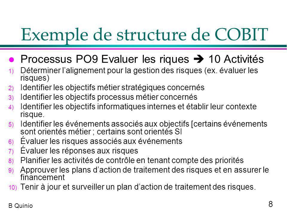 8 B Quinio l Processus PO9 Evaluer les riques 10 Activités 1) Déterminer lalignement pour la gestion des risques (ex. évaluer les risques) 2) Identifi