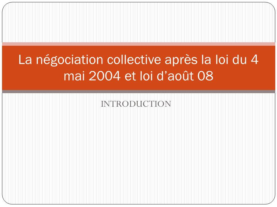 INTRODUCTION La négociation collective après la loi du 4 mai 2004 et loi daoût 08