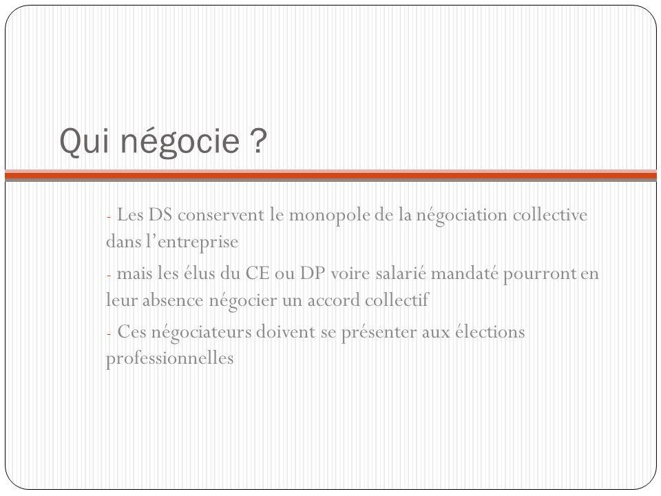 Qui négocie ? - Les DS conservent le monopole de la négociation collective dans lentreprise - mais les élus du CE ou DP voire salarié mandaté pourront