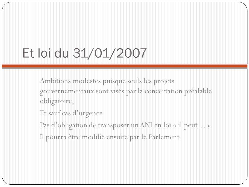 Et loi du 31/01/2007 Ambitions modestes puisque seuls les projets gouvernementaux sont visés par la concertation préalable obligatoire, Et sauf cas du