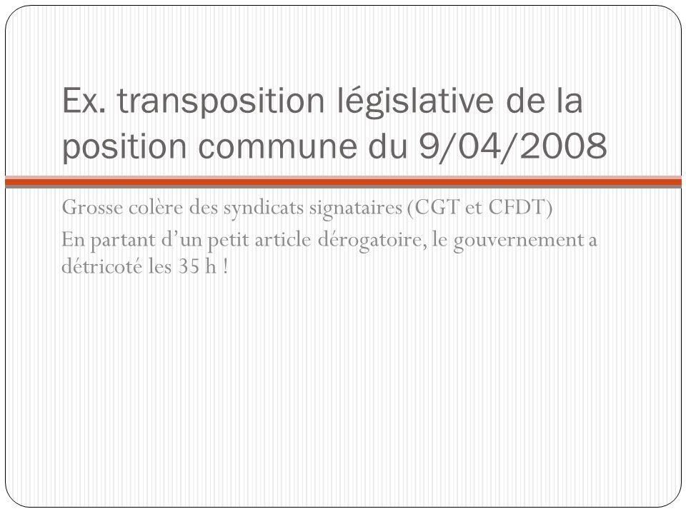 Ex. transposition législative de la position commune du 9/04/2008 Grosse colère des syndicats signataires (CGT et CFDT) En partant dun petit article d