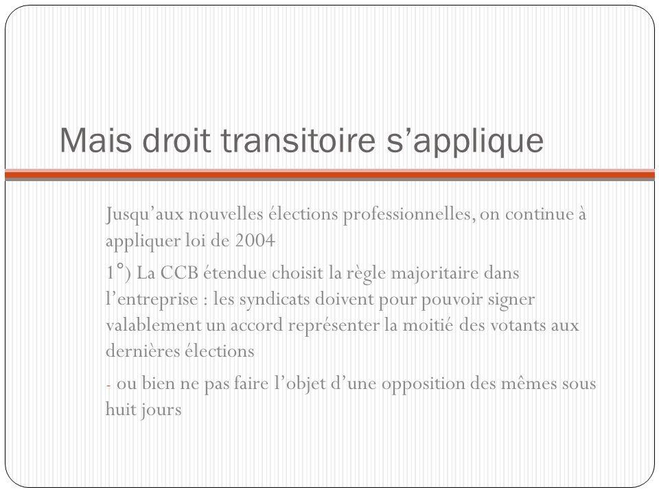 Mais droit transitoire sapplique Jusquaux nouvelles élections professionnelles, on continue à appliquer loi de 2004 1°) La CCB étendue choisit la règl