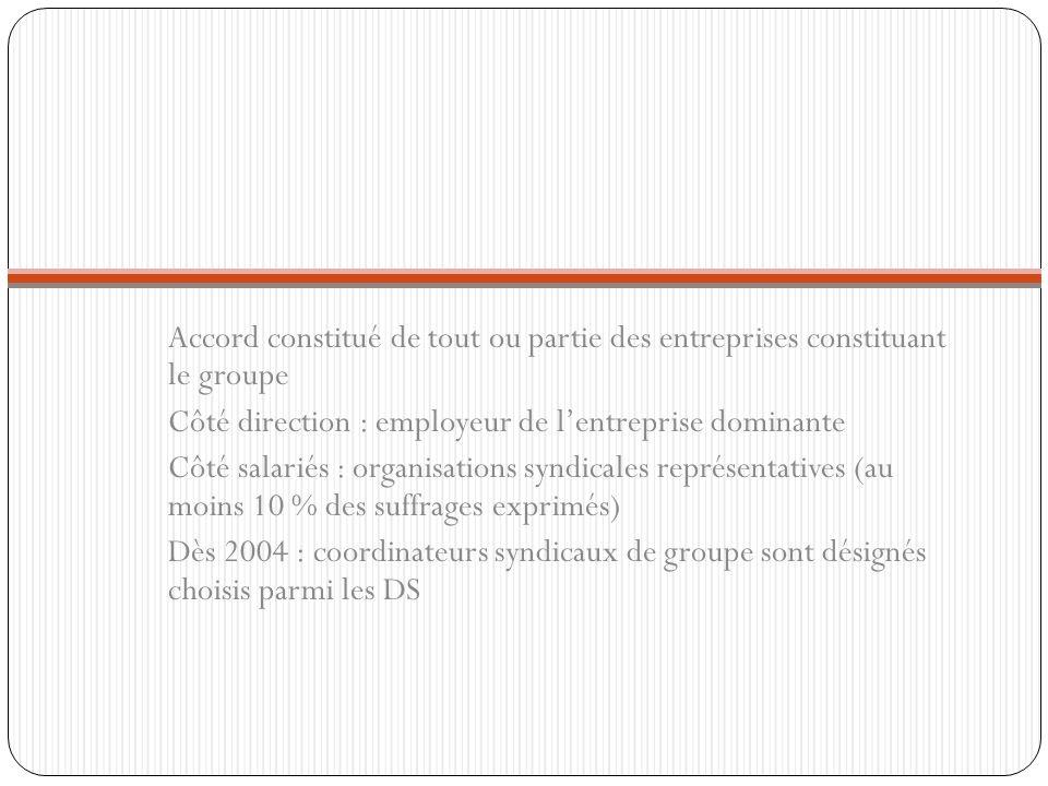 Accord constitué de tout ou partie des entreprises constituant le groupe Côté direction : employeur de lentreprise dominante Côté salariés : organisat