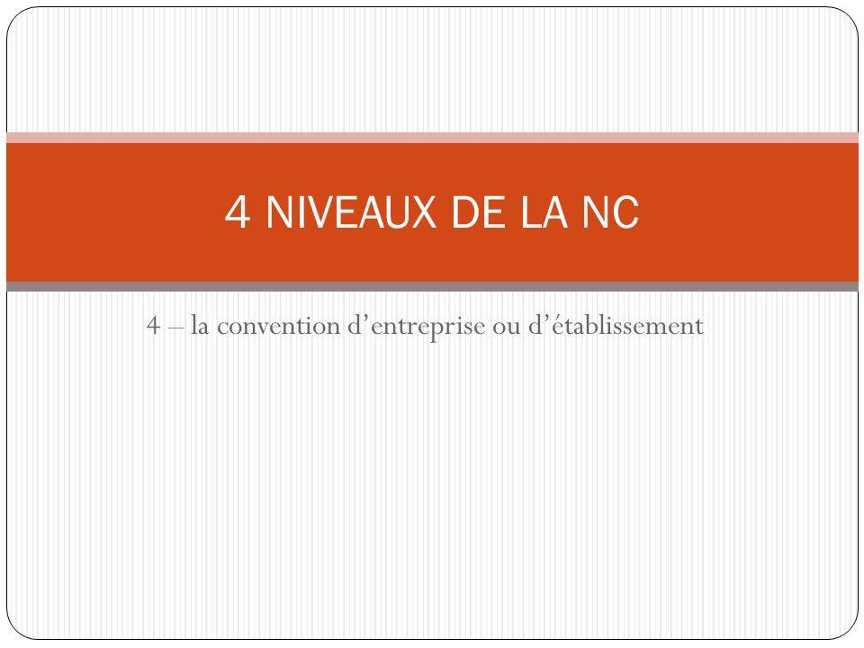 4 – la convention dentreprise ou détablissement 4 NIVEAUX DE LA NC