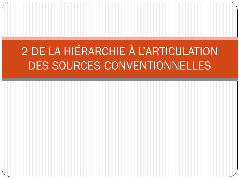 2 DE LA HIÉRARCHIE À LARTICULATION DES SOURCES CONVENTIONNELLES