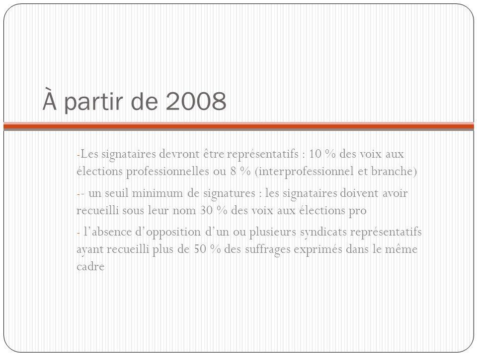 À partir de 2008 - Les signataires devront être représentatifs : 10 % des voix aux élections professionnelles ou 8 % (interprofessionnel et branche) -