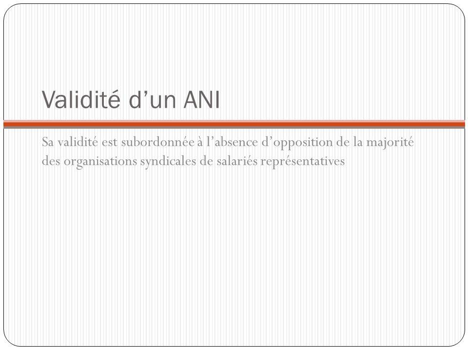 Validité dun ANI Sa validité est subordonnée à labsence dopposition de la majorité des organisations syndicales de salariés représentatives