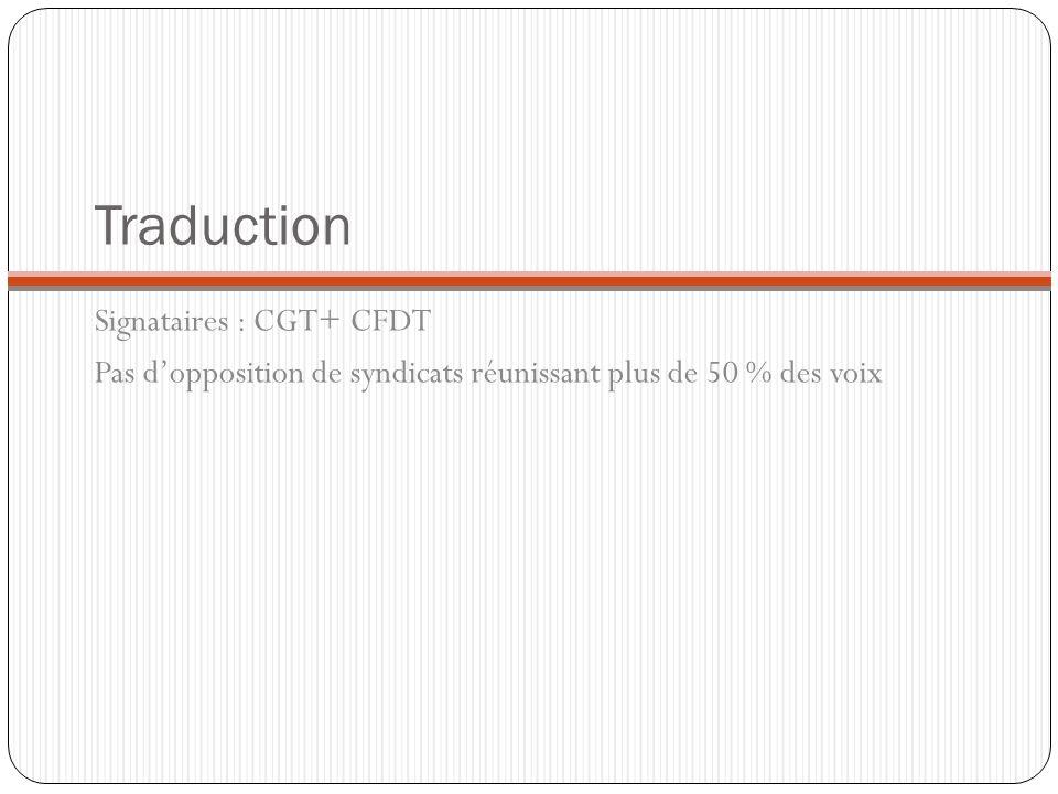 Traduction Signataires : CGT+ CFDT Pas dopposition de syndicats réunissant plus de 50 % des voix