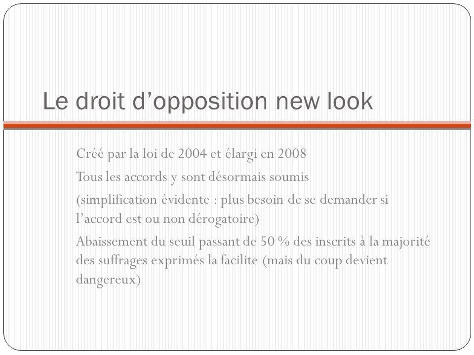 Le droit dopposition new look Créé par la loi de 2004 et élargi en 2008 Tous les accords y sont désormais soumis (simplification évidente : plus besoi