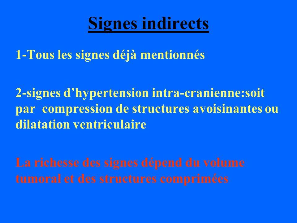Signes indirects 1-Tous les signes déjà mentionnés 2-signes dhypertension intra-cranienne:soit par compression de structures avoisinantes ou dilatatio