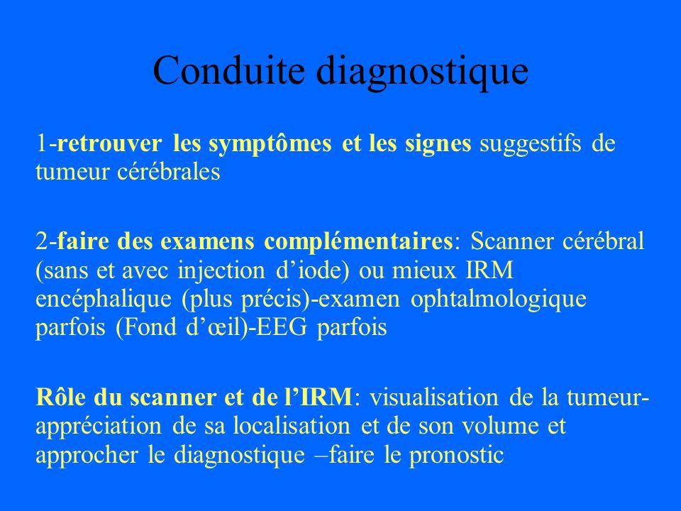 Conduite diagnostique 1-retrouver les symptômes et les signes suggestifs de tumeur cérébrales 2-faire des examens complémentaires: Scanner cérébral (s