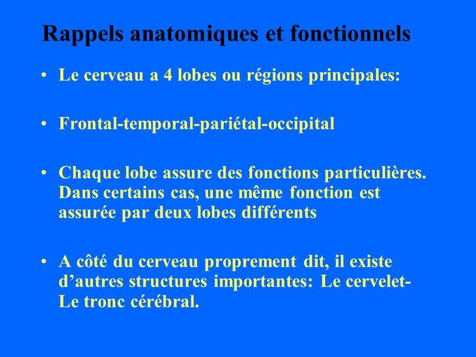 Rappels anatomiques et fonctionnels Le cerveau a 4 lobes ou régions principales: Frontal-temporal-pariétal-occipital Chaque lobe assure des fonctions