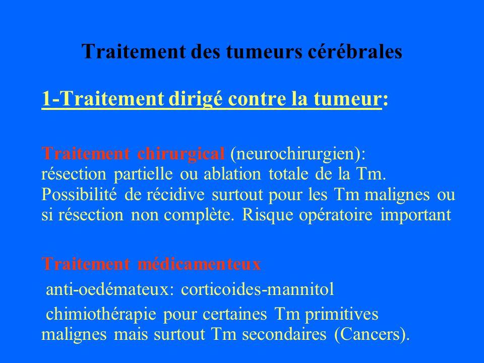 Traitement des tumeurs cérébrales 1-Traitement dirigé contre la tumeur: Traitement chirurgical (neurochirurgien): résection partielle ou ablation tota