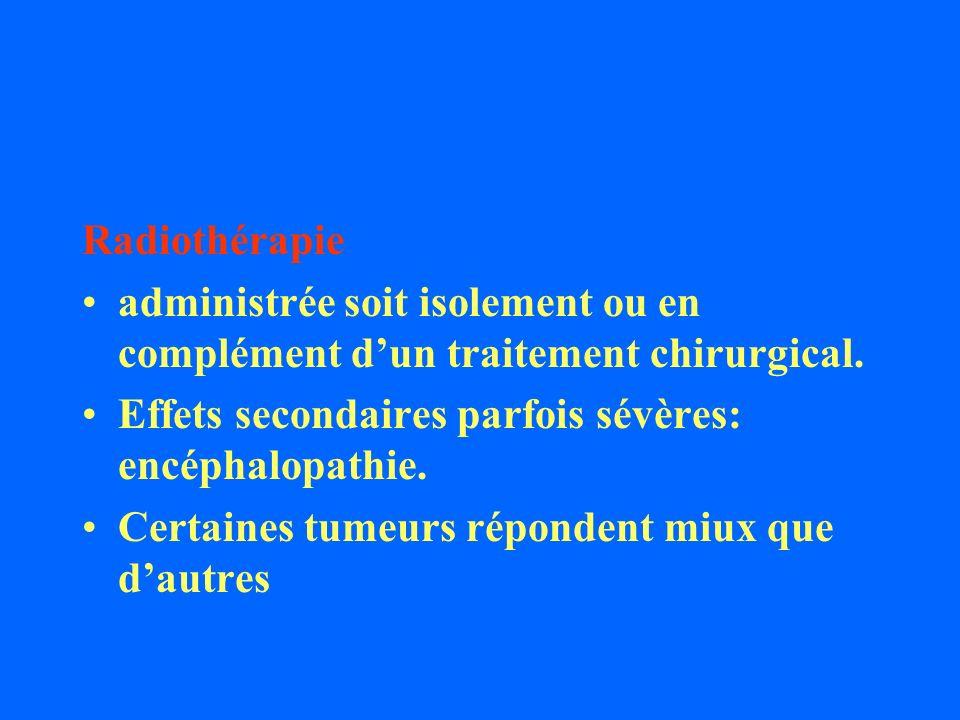 Radiothérapie administrée soit isolement ou en complément dun traitement chirurgical. Effets secondaires parfois sévères: encéphalopathie. Certaines t