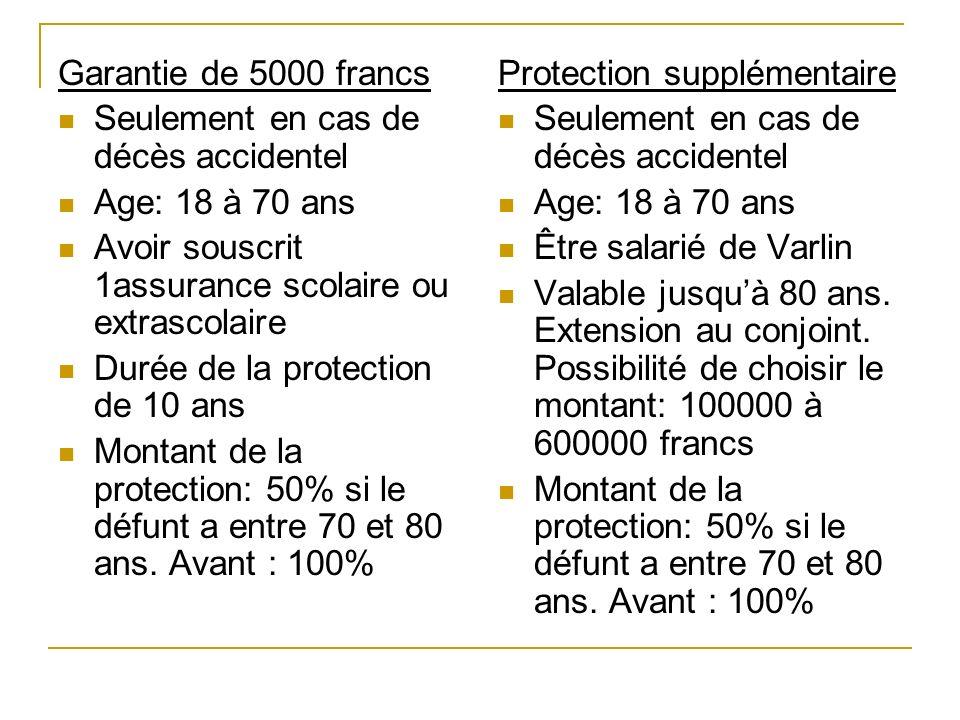 Garantie de 5000 francs Seulement en cas de décès accidentel Age: 18 à 70 ans Avoir souscrit 1assurance scolaire ou extrascolaire Durée de la protecti
