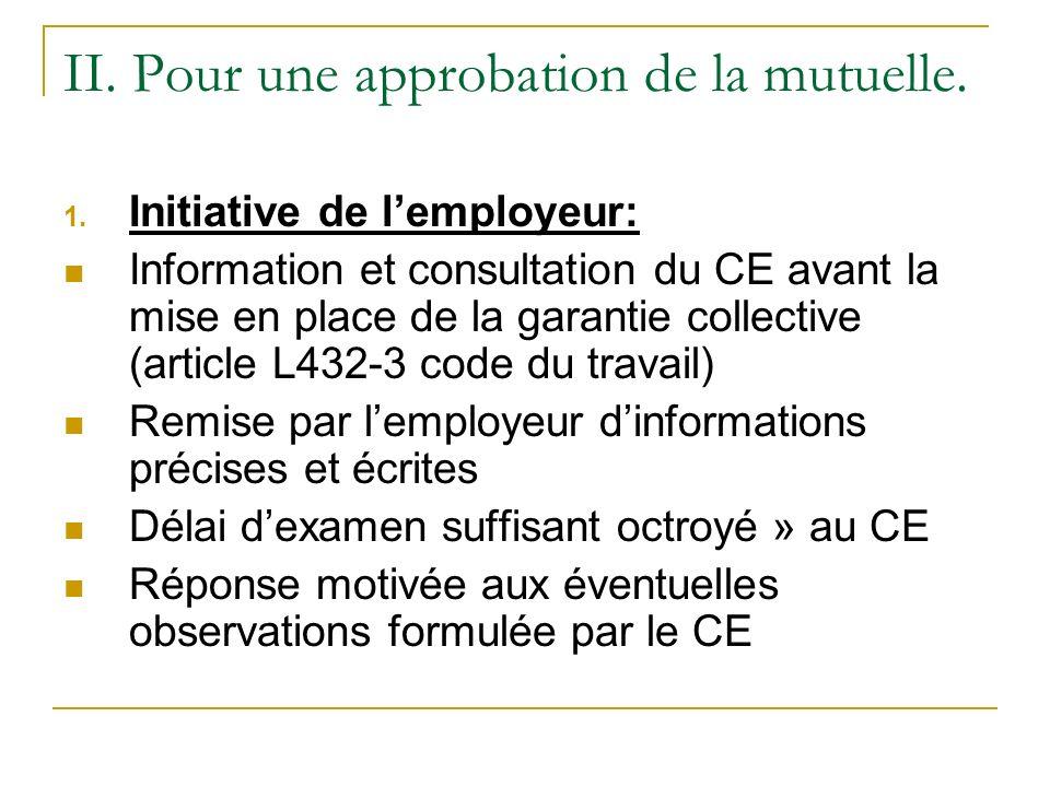 II. Pour une approbation de la mutuelle. 1. Initiative de lemployeur: Information et consultation du CE avant la mise en place de la garantie collecti