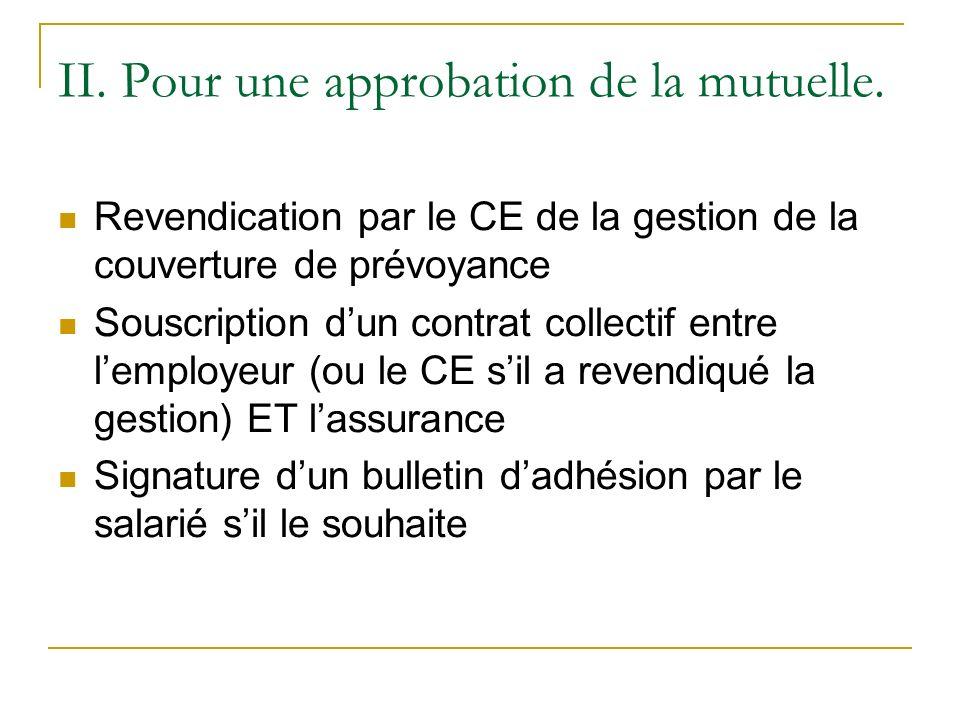 II. Pour une approbation de la mutuelle. Revendication par le CE de la gestion de la couverture de prévoyance Souscription dun contrat collectif entre