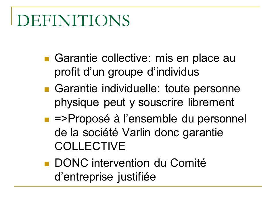 DEFINITIONS Garantie collective: mis en place au profit dun groupe dindividus Garantie individuelle: toute personne physique peut y souscrire libremen