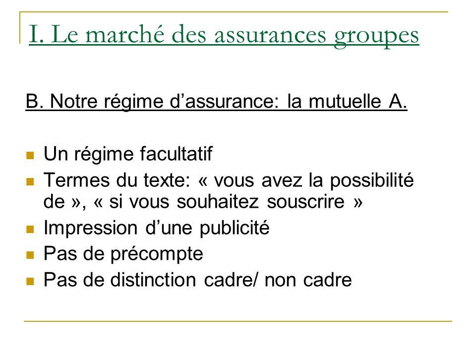 I. Le marché des assurances groupes B. Notre régime dassurance: la mutuelle A. Un régime facultatif Termes du texte: « vous avez la possibilité de »,